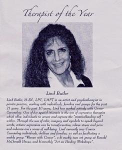 Therapist of the Year, Lind Butler, Houston Psychotherapist